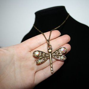 Vintagejelyfish Jewelry - Beautiful gold dragon fly and crystal necklace